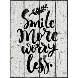 'Smile More Worry Less Quote Textual' by Marilu Windvand Textual Art on Wrapped Canvas by Buy Art For Less