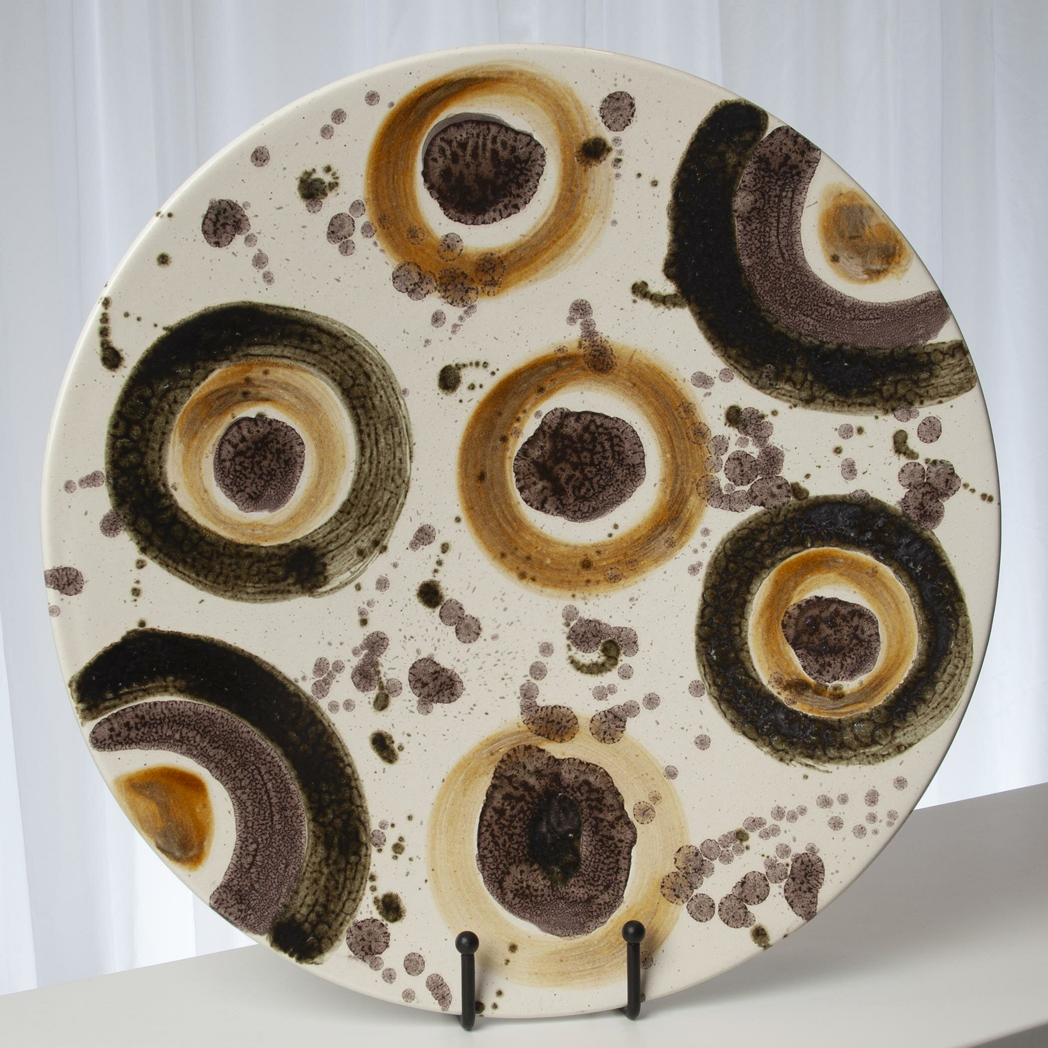 Textured earth toned rustic food safe plate stoneware