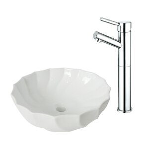 Online Reviews Ceramic Circular Vessel Bathroom Sink with Faucet ByKingston Brass