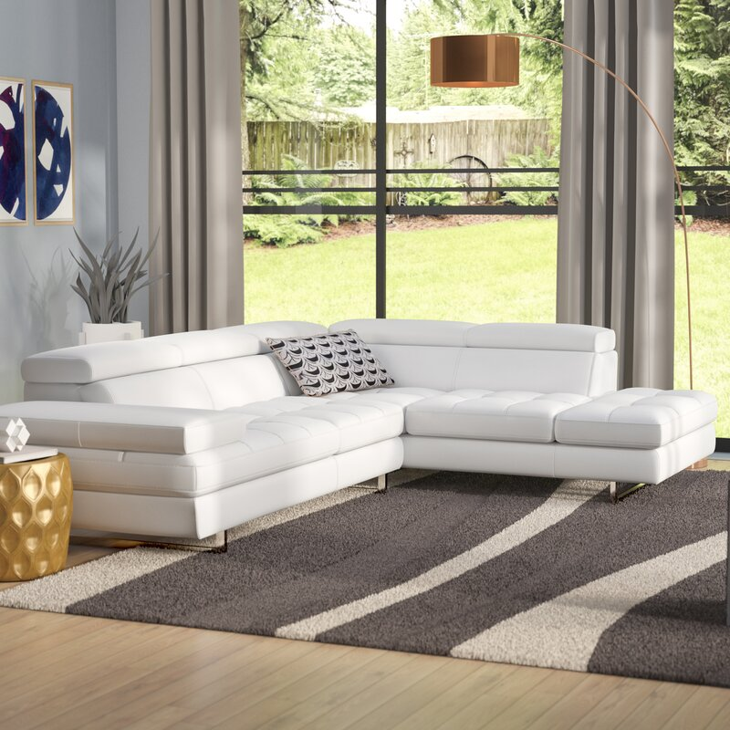 Top Rated Furniture Stores: Wade Logan Hugo Leather Sectional & Reviews