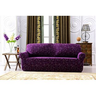 Spandex Stretch Printed Box Cushion Loveseat Slipcover