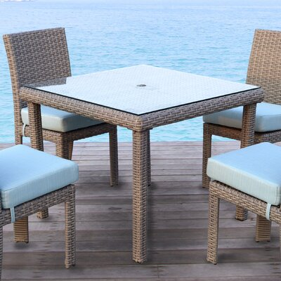 Sperry Patio Dining Chair with Cushion Bay Isle Home Frame Color: Stone, Cushion Color: Aquamarine