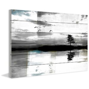 'Lone Lake Tree' Print on Wood by Marmont Hill