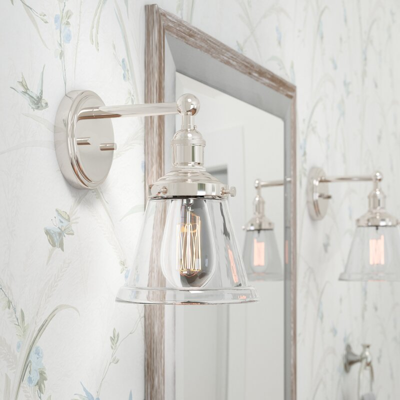 Laurel foundry modern farmhouse sandy springs 1 light bath sconce reviews wayfair Bathroom sconce lighting ideas