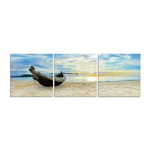 Private Beach 3 Piece Photographic Print Set by 3 Panel Photo