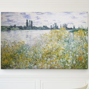 'Flowers on the Banks' by Claude Monet Painting Print on Wrapped Canvas by Wexford Home