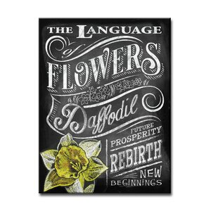 'LOF - Daffodil'  Framed Textual Art on Wrapped Canvas by August Grove