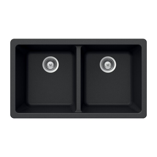 kitchen sink granite houzer quartztone 33 quot x 18 5 quot 50 50 bowl undermount 2727