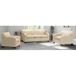 Rovario Cream Top Grain Leather Sofa Bed And Two Chairs by Ebern Designs