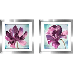 'Tye Dye Floral II' 2 Piece Framed Watercolor Painting Print Set by Latitude Run