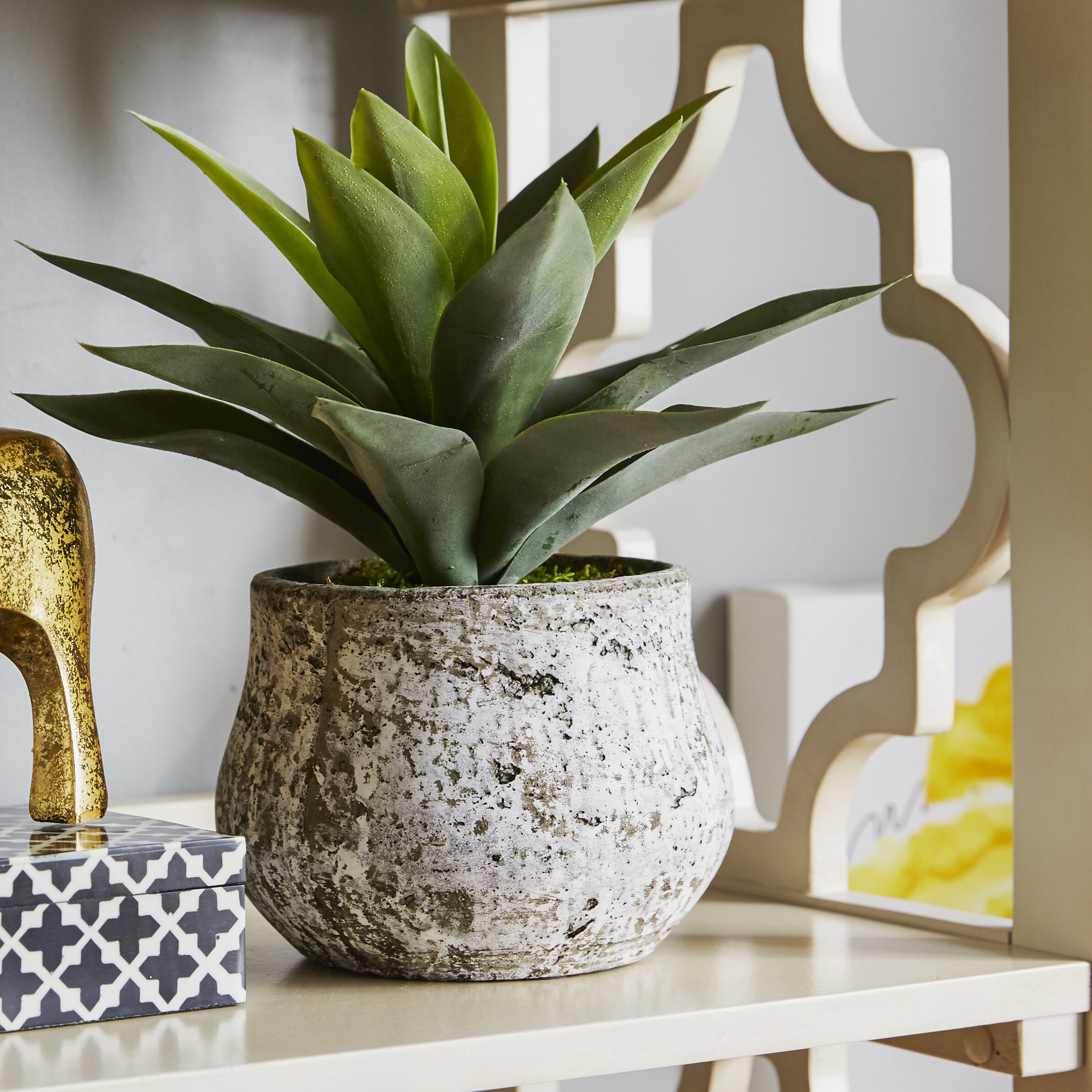 House of silk flowers inc wayfair artificial succulent desk top plant in pot by house of silk flowers mightylinksfo