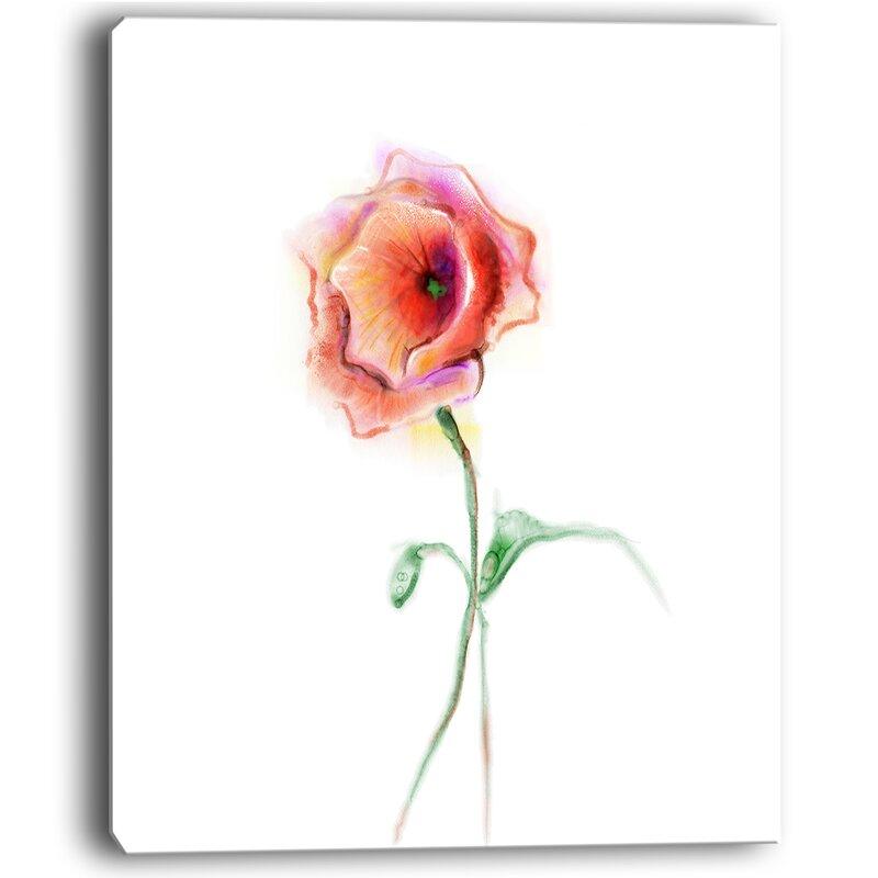 Designart red poppy flower with green leaves painting print on designart red poppy flower with green leaves painting print on wrapped canvas mightylinksfo