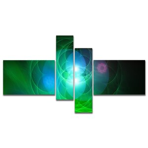 Designart 'Merge Colored Spheres.' Large Abstract Canvas Art Print - 60x32 - 4 panels by East Urban Home