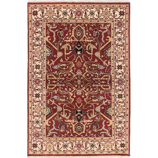 Best Review One-of-a-Kind Doerr Hand-Knotted Red Rectangle Oriental Area Rug By Isabelline