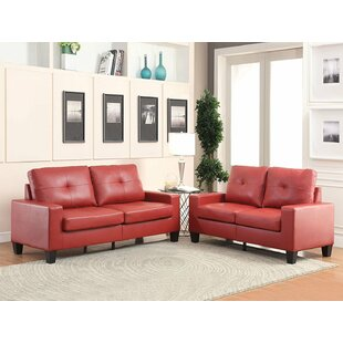 Fishponds Standard Buttonless Tufted Seat and Backrest PU Living Room Set by Latitude Run®