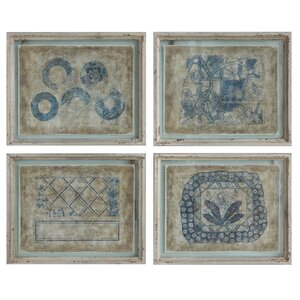 'Antiqued Vintage Print' 4 Piece Graphic Art Set by Creative Co-Op