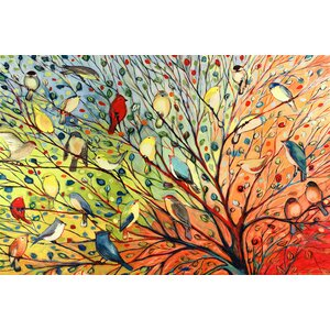 'Tree Birds' by Jennifer Lommers Painting Print on Wrapped Canvas by August Grove