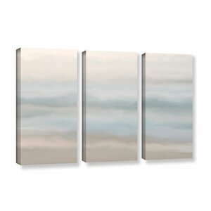 'Sand, Sea and Sky' 3 Piece Painting Print on Gallery Wrapped Canvas Set by Rosecliff Heights