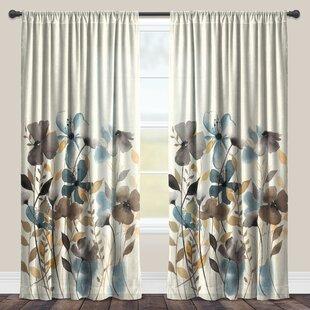 Peery Greige Floral Sheer Rod Pocket Single Curtain Panel