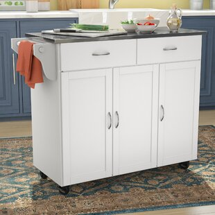 Online Reviews Garrettsville Kitchen Island with Stainless Steel Top by Red Barrel Studio