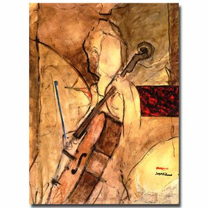 'Old Cello' by Joarez Painting Print on Canvas by Trademark Fine Art