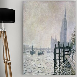'The Thames' by Claude Monet Painting Print on Wrapped Canvas by Wexford Home