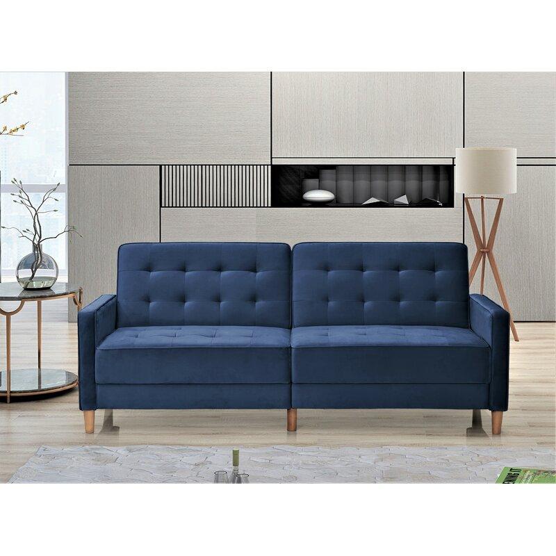 Stetson Velvet 80 Square Arms Sofa Bed
