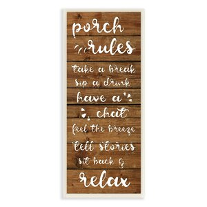 Porch Rules Rustic Neutrals Sit Back and Relax Textual Art by Stupell Industries