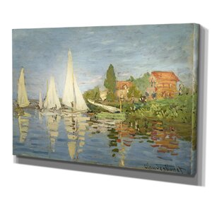 'Regatta at Argenteuil' by Claude Monet Painting Print on Wrapped Canvas by Wexford Home