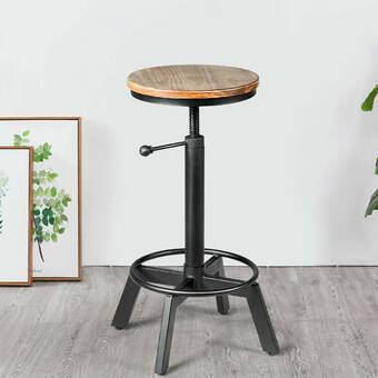 17 Stories Crelake Swivel Solid Wood Adjustable Height Bar Stool