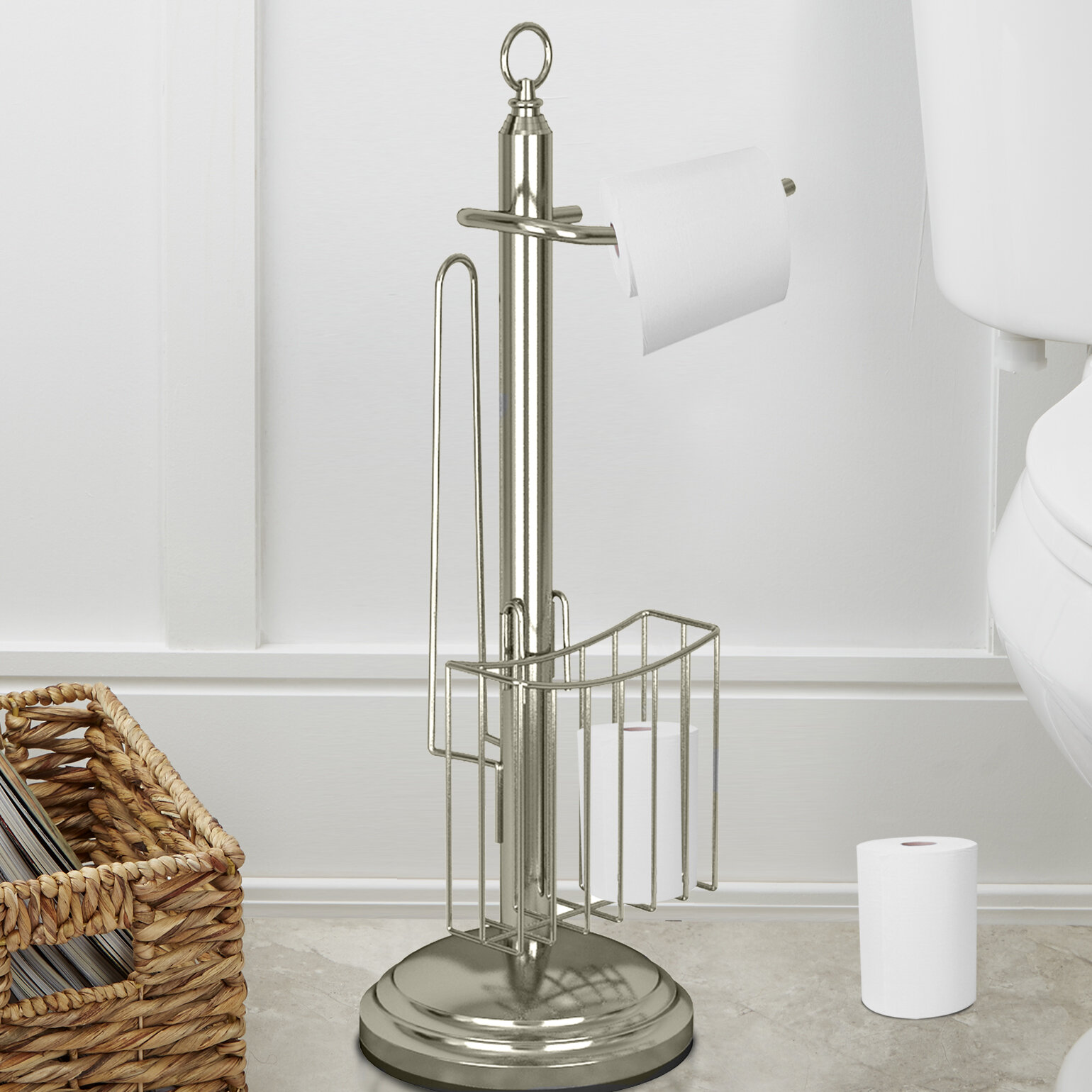 Tgn15h Free Standing Toilet Paper Holder With Storage