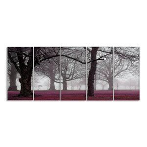 Foggy Trees 5 Piece Framed Photographic Print on Canvas Set by Stupell Industries
