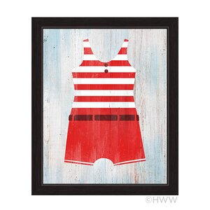 'Vintage Red Striped Boy's Beach Outfit' Illustration Framed Graphic Art by Beachcrest Home