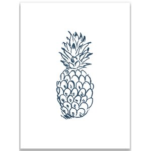 Navy Blue Pineapple Wall Art Print by Jetty Home