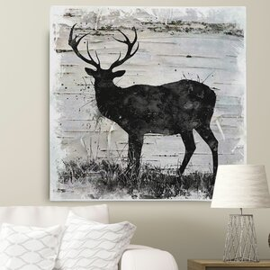 'Birchbark Deer' by Carol Robinson Framed Painting Print on Wrapped Canvas by Wexford Home