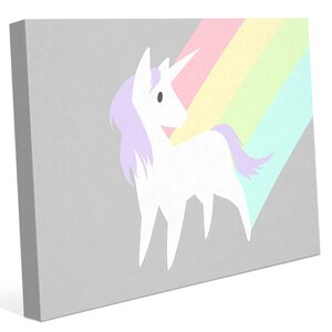'Rainbow and Lavender Unicorn' Graphic Art on Wrapped Canvas by Click Wall Art