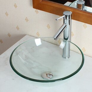 Shopping for Tempered Glass Circular Vessel Bathroom Sink By Elite