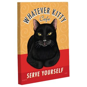 'Whatever Kitty Café' Graphic Art on Canvas by Andover Mills