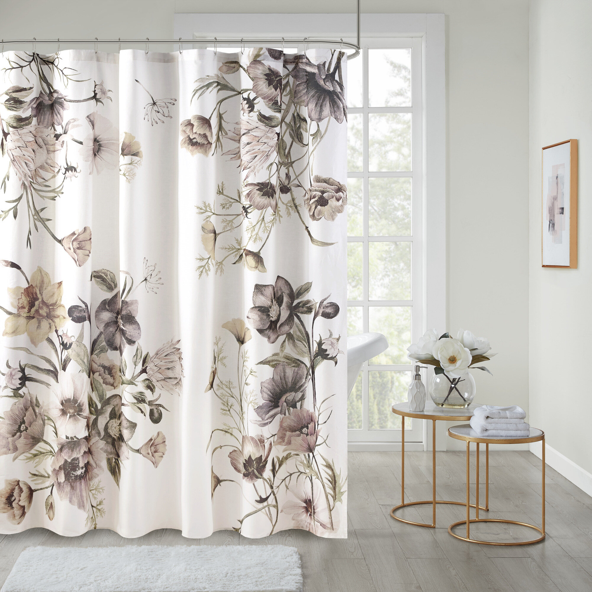 Ophelia Co Wetherell Cotton Floral Single Shower Curtain Reviews Wayfair