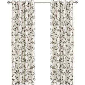 Nicolette Nature/Floral Room Darkening Thermal Grommet Single Curtain Panel
