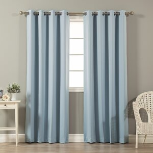 Prudence Solid Blackout Thermal Grommet Curtain Panel (Set of 2)