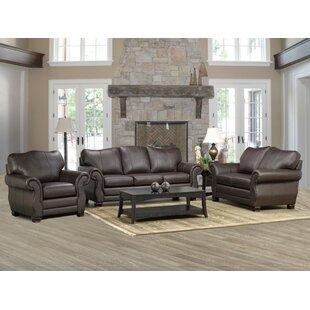 Jettie 3 Piece Leather Living Room Set by Fleur De Lis Living