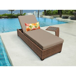 Estrella Reclining Chaise Lounge with Cushion and Table By Sol 72 Outdoor