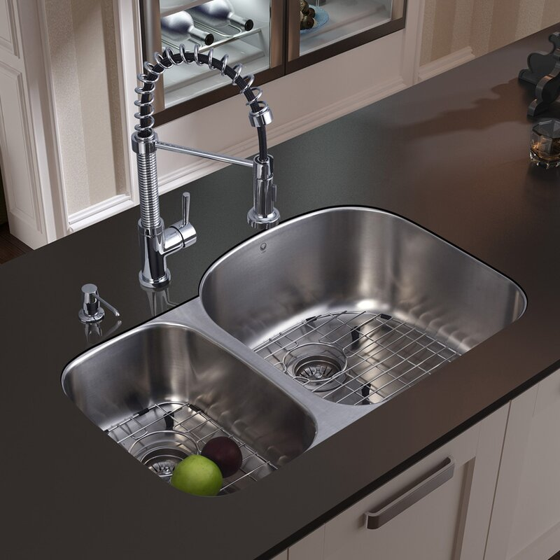 Exceptionnel 31 Inch Undermount 70/30 Double Bowl 18 Gauge Stainless Steel Kitchen Sink  With Edison