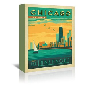 Chicago Lakefront Vintage Advertisement on Wrapped Canvas by East Urban Home