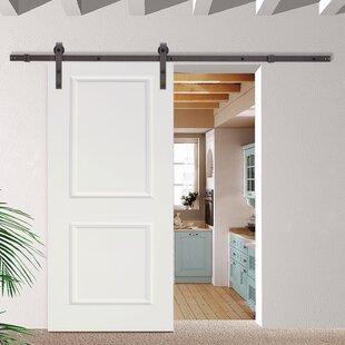 Good Classic Bent Strap Sliding Track Hardware MDF 2 Panel Primed Interior Barn  Door