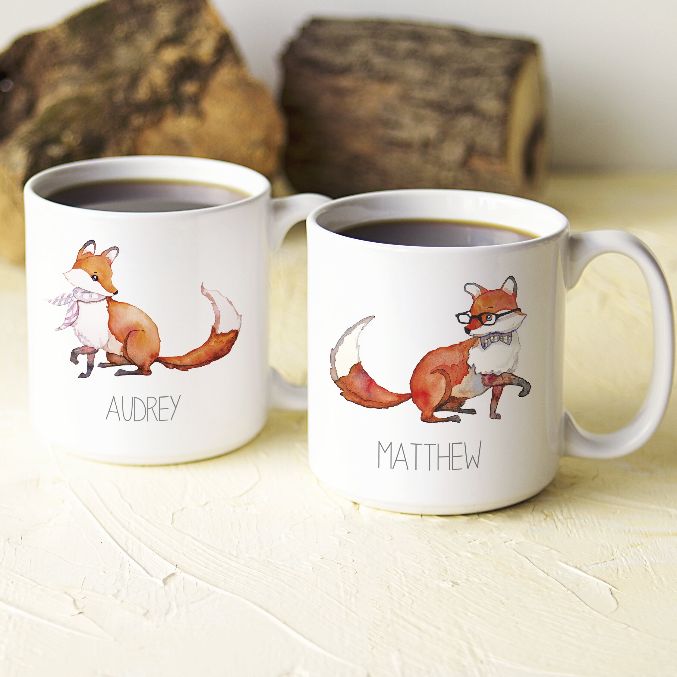 Cathys Concepts Personalized 2 Piece 20 Oz Fox Large Coffee Mug Set Wayfair