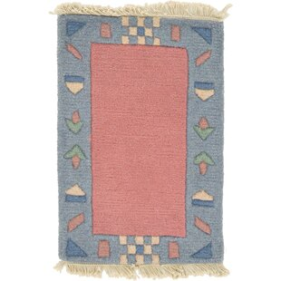 One Of A Kind Dorcaster Hand Knotted 1 4 X 11 Wool Salmon Blue Area Rug