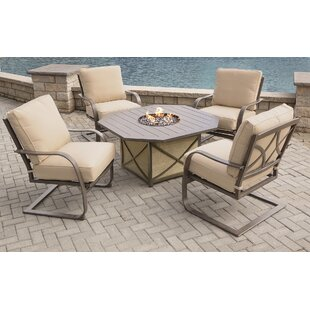 Drees 5 Piece Sunbrella Dining Set with with Cushions ByRed Barrel Studio