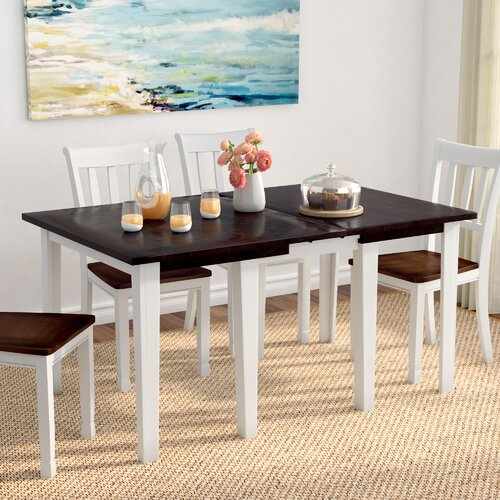 Beachcrest Home Tamiami Extendable Solid Wood Dining Table